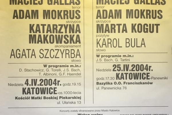 Maciej Gallas plakat archiwalny 2004